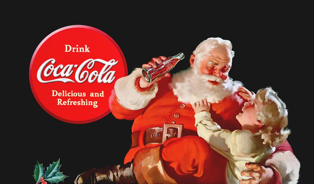 Coca-Cola-Getränk und Weihnachtsmann
