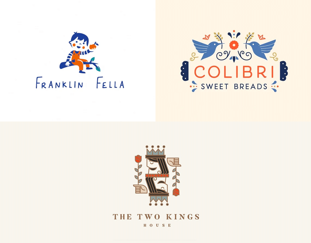 Illustrative icons in logos