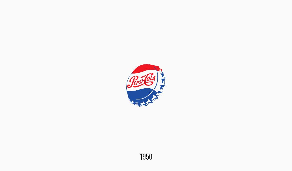 Pepsi cola logo, 1950