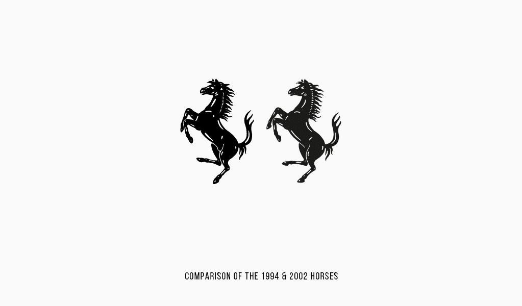 Vergleich der Ferrari-Pferde 1994 und 2002