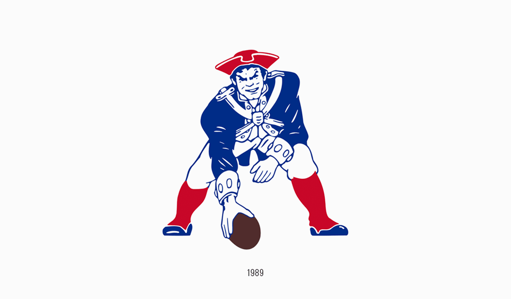 New England Patriots logo, 1986