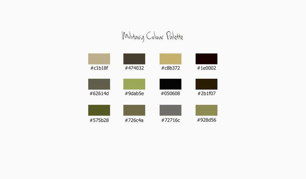 Palette de couleurs militaires