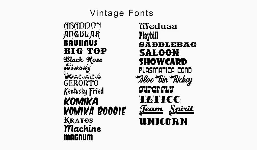 Vintage Schriftarten